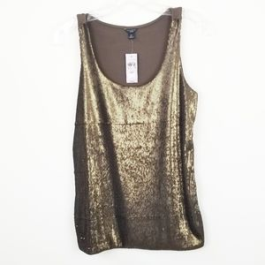 ANN TAYLOR Gold Sequin Tank Top Size MP